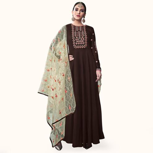 Pleasant Coffee Brown Colored Party Wear Embroidered Cotton Anarkali Suit