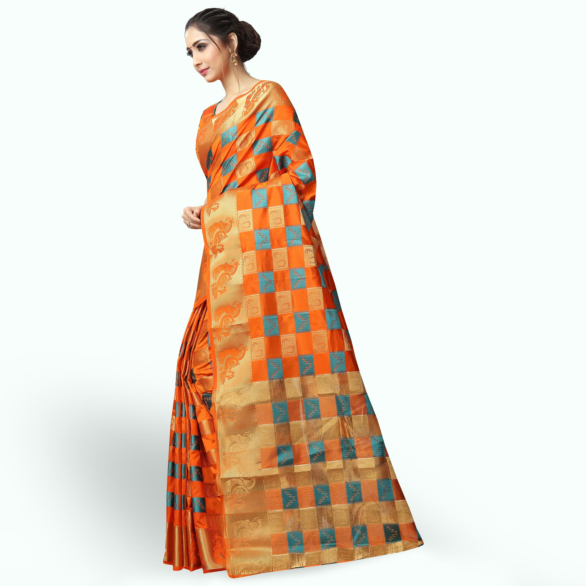 Elegant Orange Colored Festive Wear Woven Jacquard Silk Saree