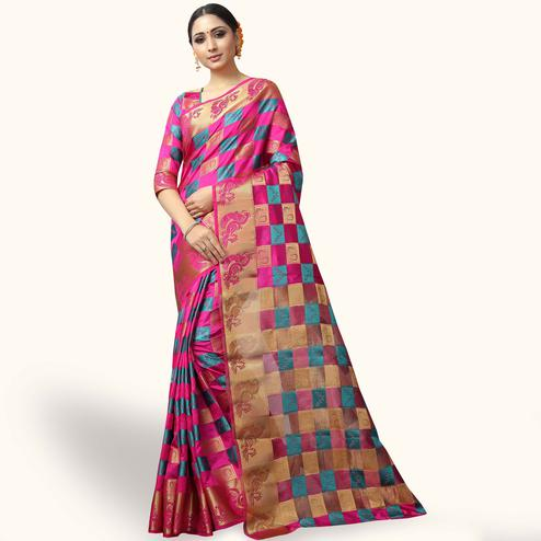 Beautiful Pink Colored Festive Wear Woven Jacquard Silk Saree