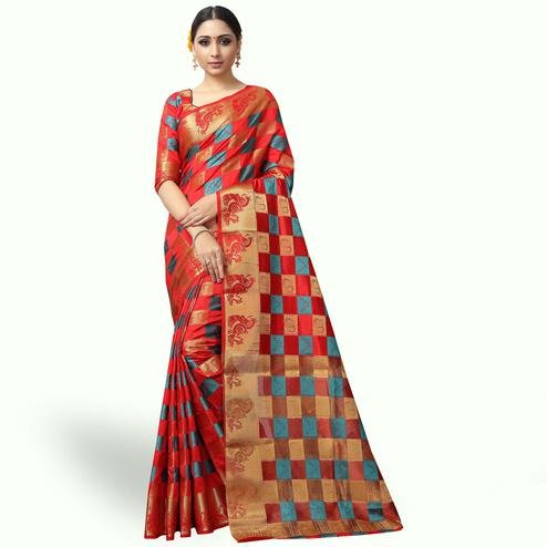 Attractive Red Colored Festive Wear Woven Jacquard Silk Saree