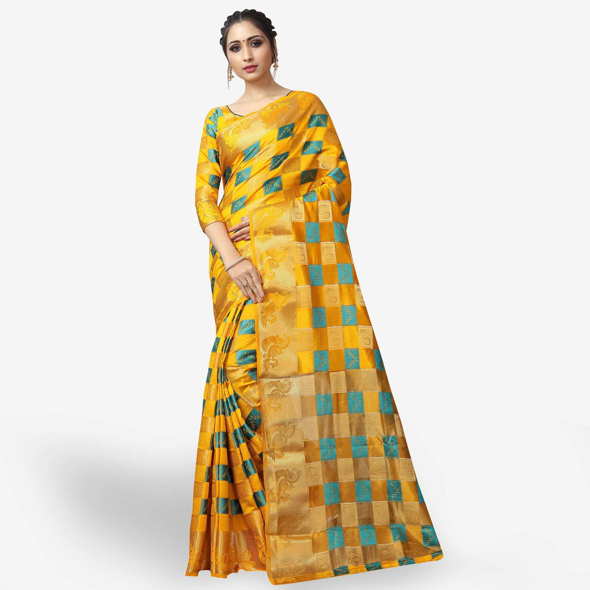 Glowing Yellow Colored Festive Wear Woven Jacquard Silk Saree
