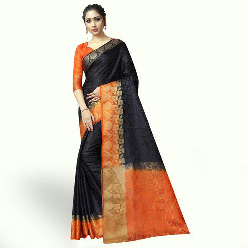Adorable Black Colored Festive Wear Woven Jacquard Silk Saree