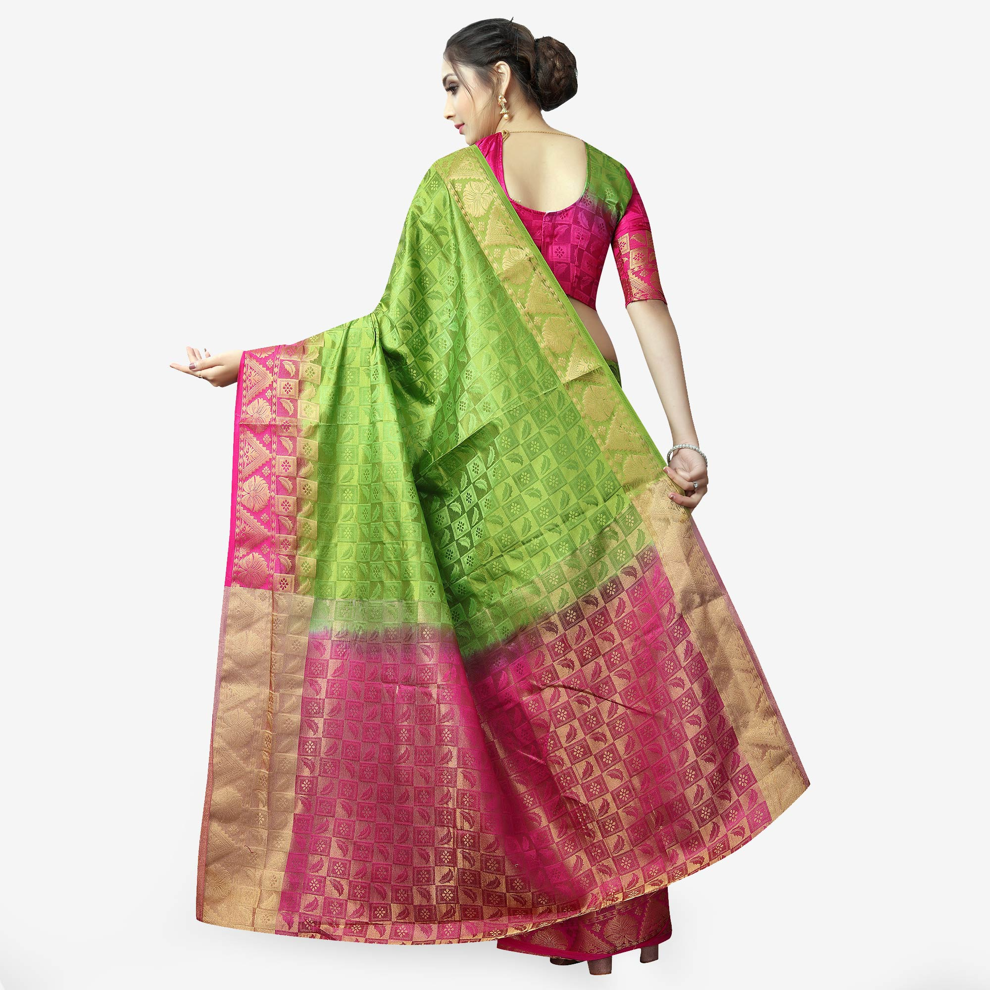 Refreshing Green Colored Festive Wear Woven Jacquard Silk Saree