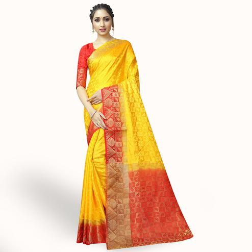 Impressive Yellow Colored Festive Wear Woven Jacquard Silk Saree