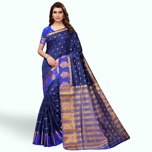 Beautiful Navy Blue Colored Festive Wear Woven Tussar Silk Saree