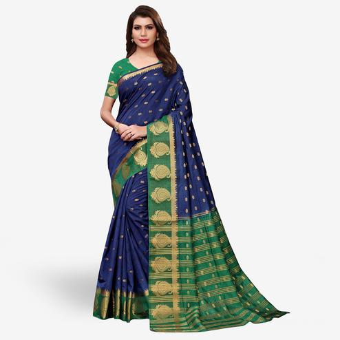 Desiring Navy Blue-Green Colored Festive Wear Woven Tussar Silk Saree