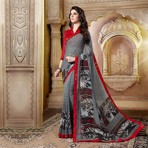 Beautiful Grey And Red Georgette Printed Designer Saree