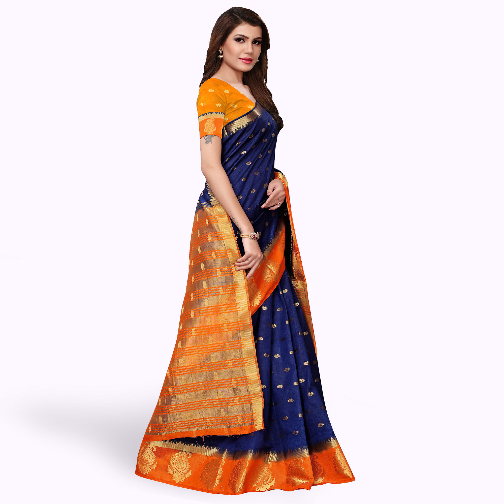 Adorning Navy Blue-Orange Colored Festive Wear Woven Tussar Silk Saree