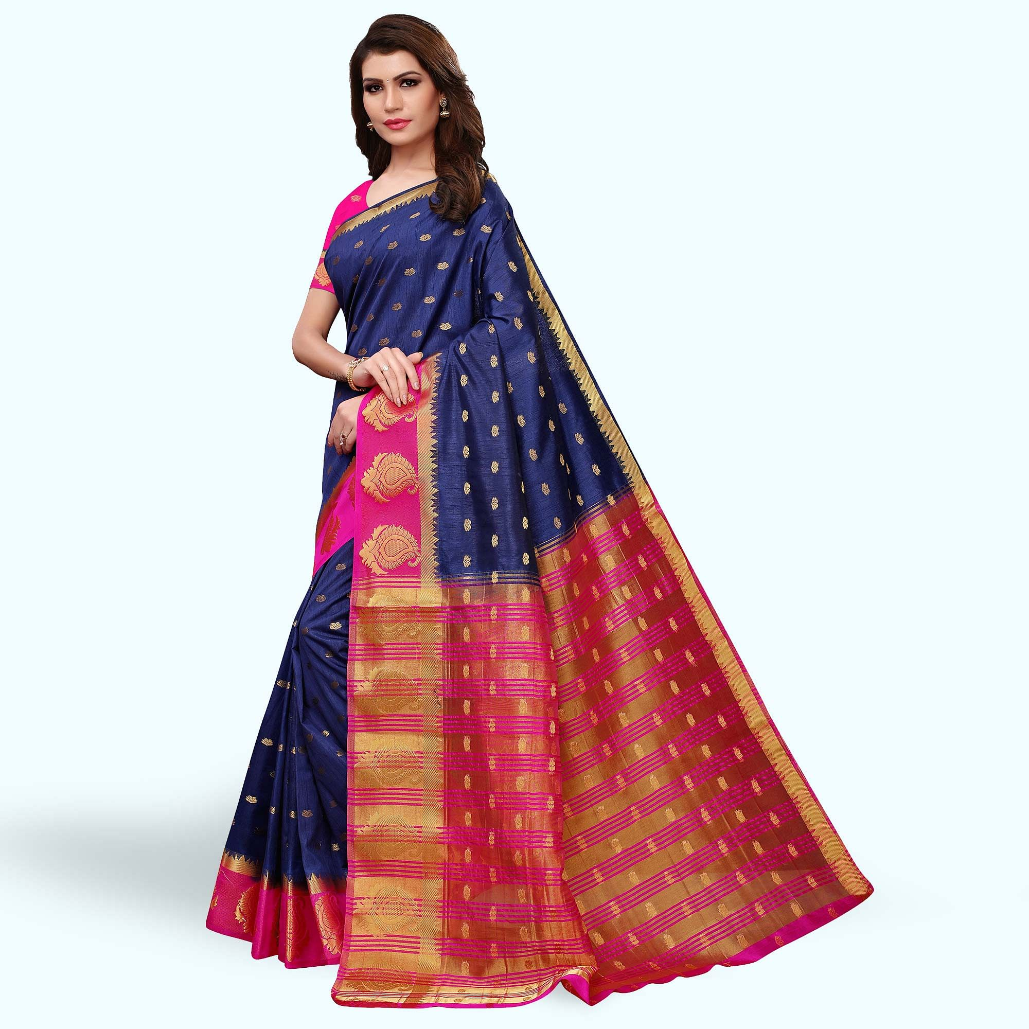 Eye-Catching Navy Blue-Pink Colored Festive Wear Woven Tussar Silk Saree