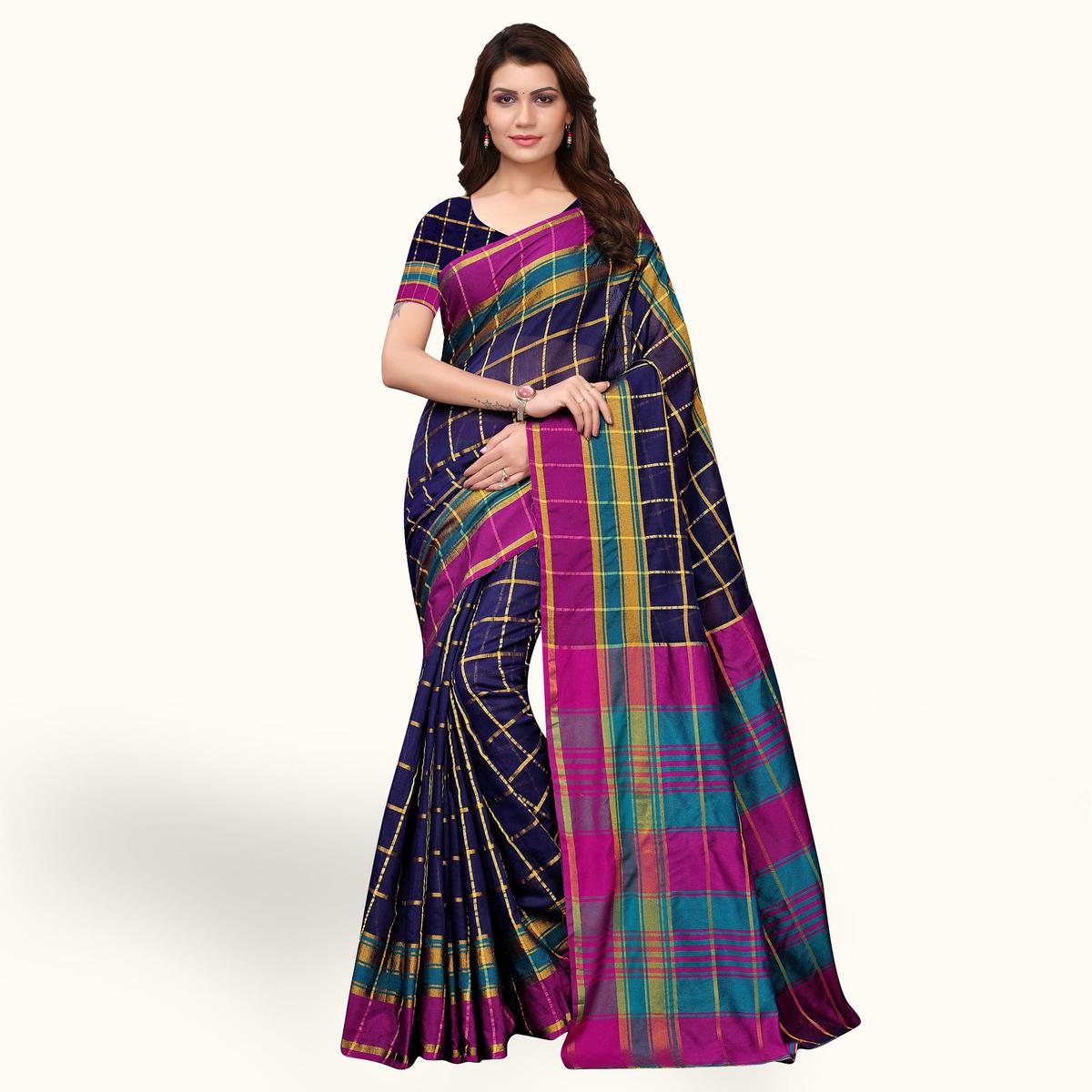Classy Blue Colored Casual Cotton Silk Saree