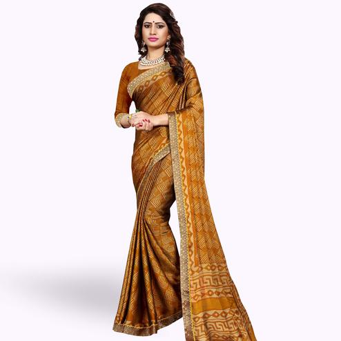 Gorgeous Mustard Yellow Colored Casual Printed Georgette Saree
