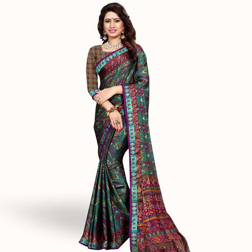 Graceful Rama Green Colored Casual Printed Georgette Saree