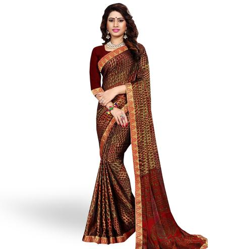 Ideal Brown Colored Casual Printed Georgette Saree