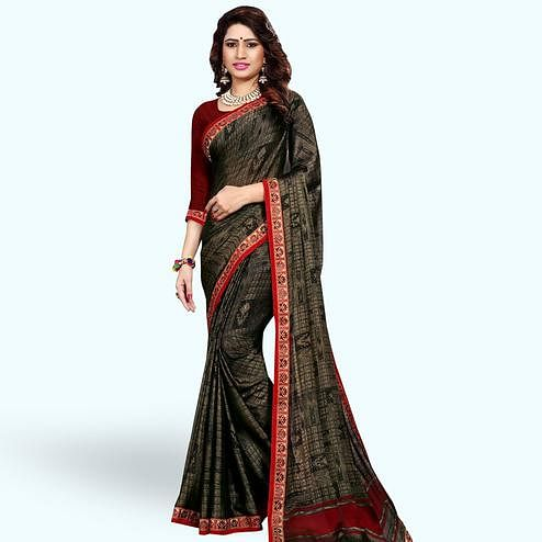 Imposing Black Colored Casual Printed Georgette Saree