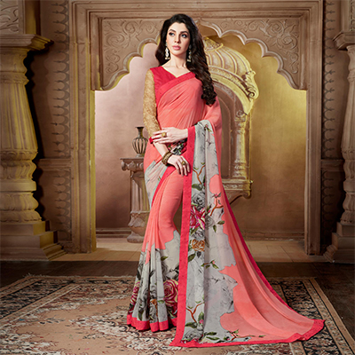 Adorable Pink Casula Wear Georgette Saree