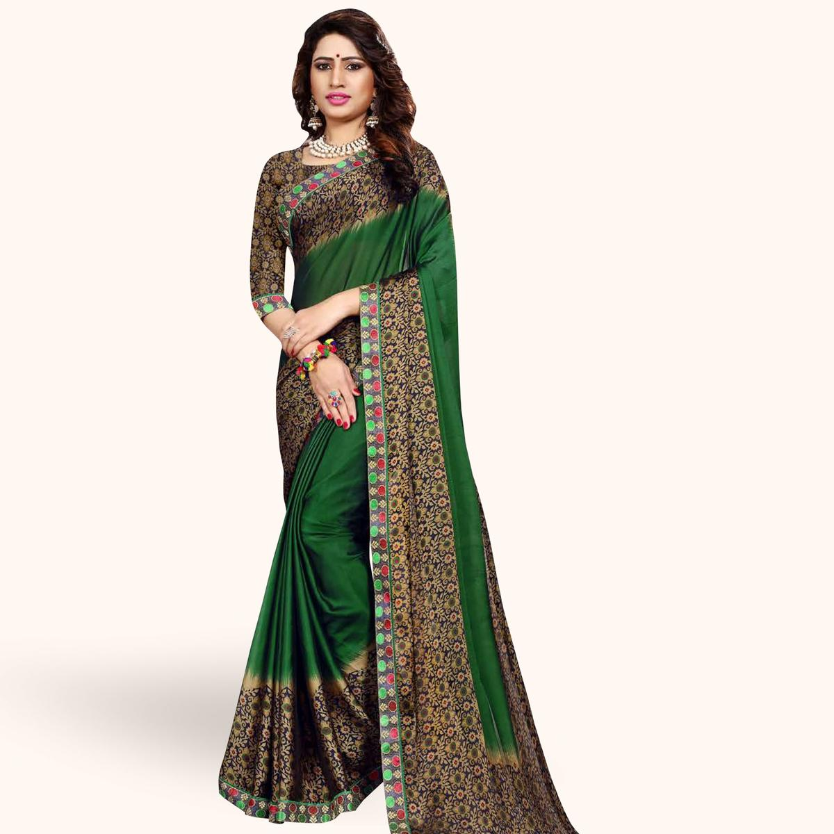 Majesty Green Colored Casual Printed Georgette Saree