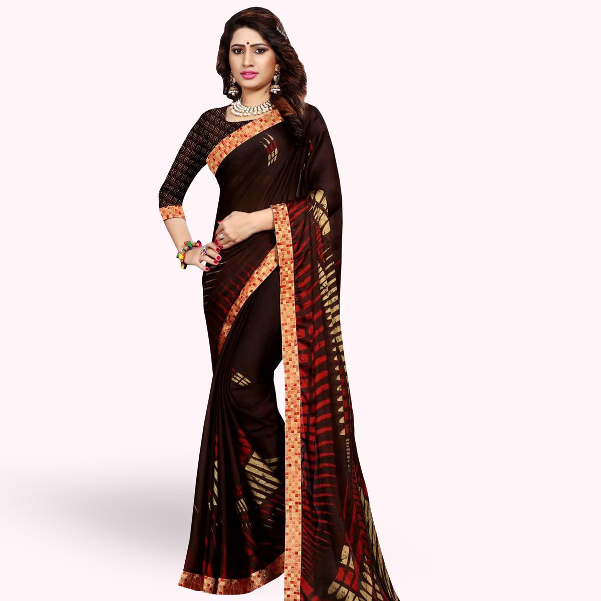 Marvellous Coffee Brown Colored Casual Printed Georgette Saree