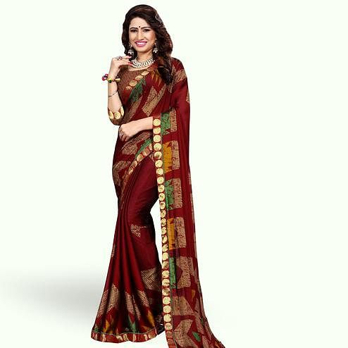 Mesmerising Maroon Colored Casual Printed Georgette Saree