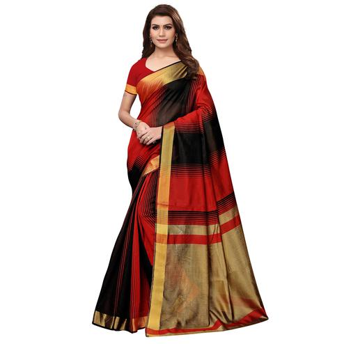 Intricate Black - Red Colored Festive Wear Art Silk Saree