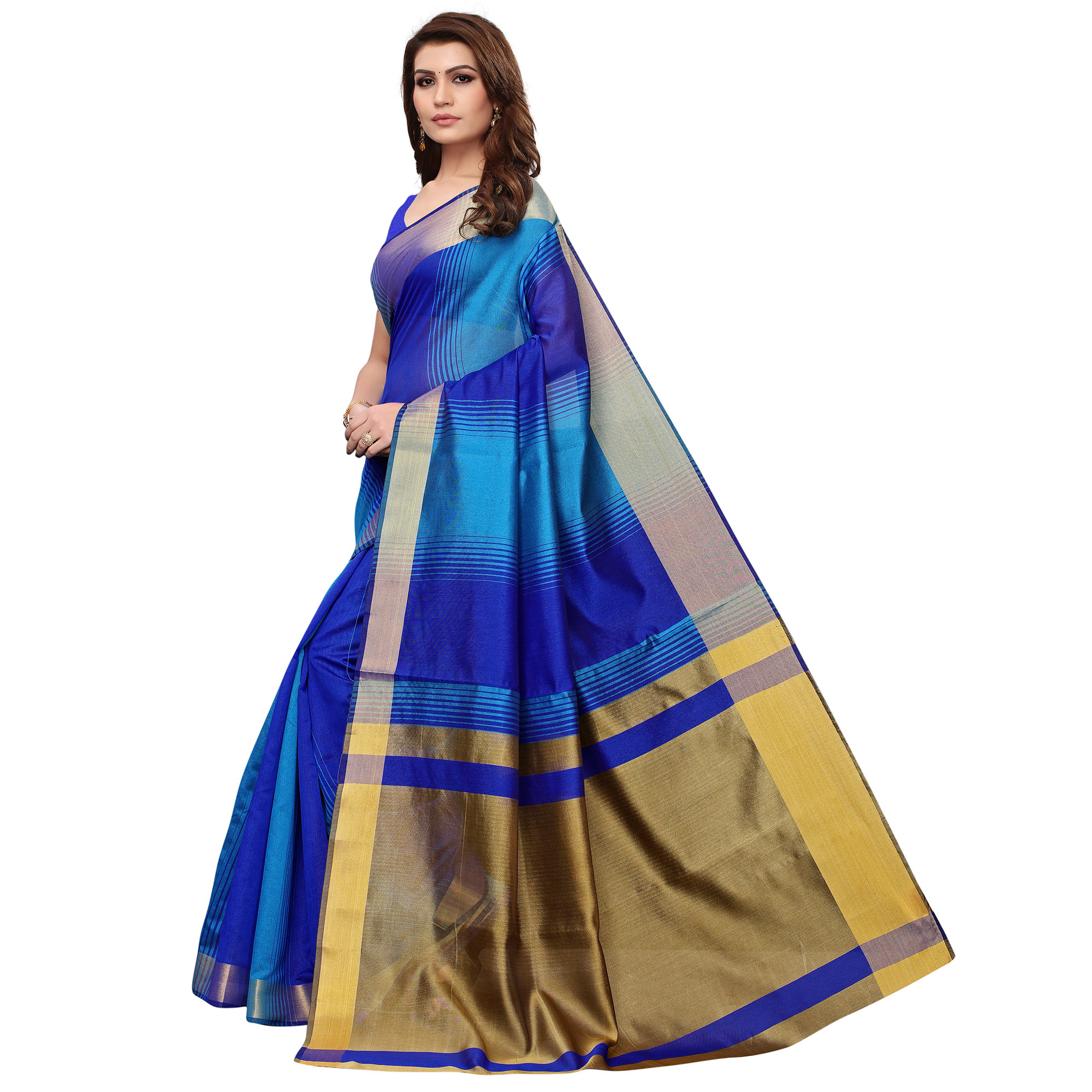 Arresting Blue Colored Festive Wear Art Silk Saree