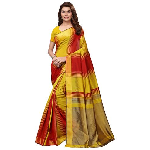Desirable Yellow - Red Colored Festive Wear Art Silk Saree