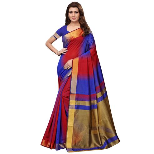 Trendy Blue - Red Colored Festive Wear Art Silk Saree