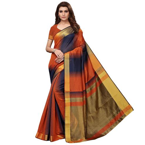 Radiant Orange - Blue Colored Festive Wear Art Silk Saree