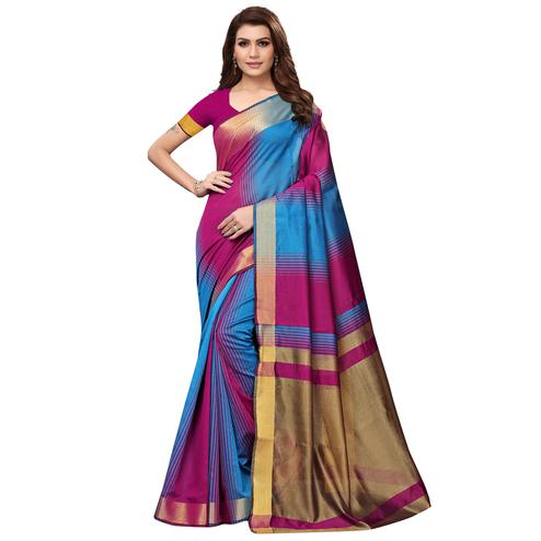 Flattering Pink - Blue Colored Festive Wear Art Silk Saree