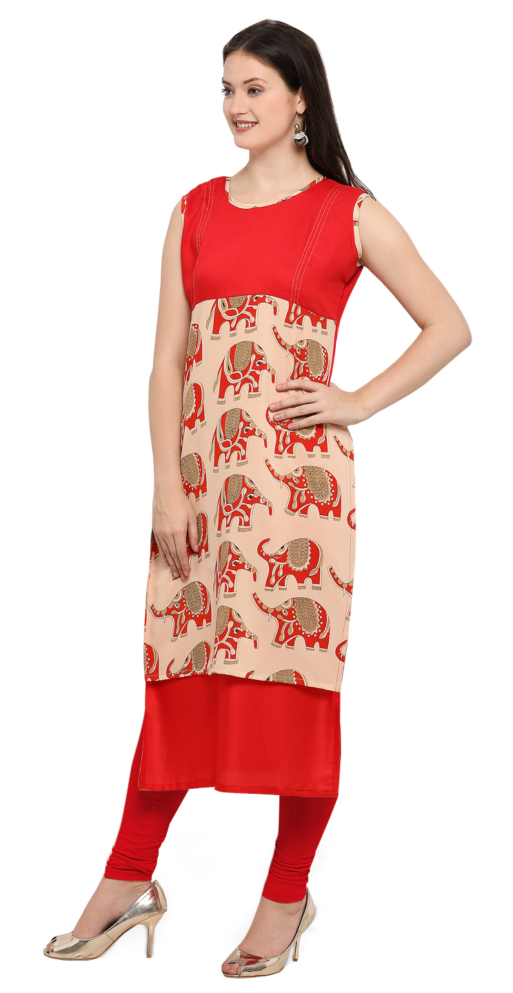 Red Casual Wear Digital Printed Kurti