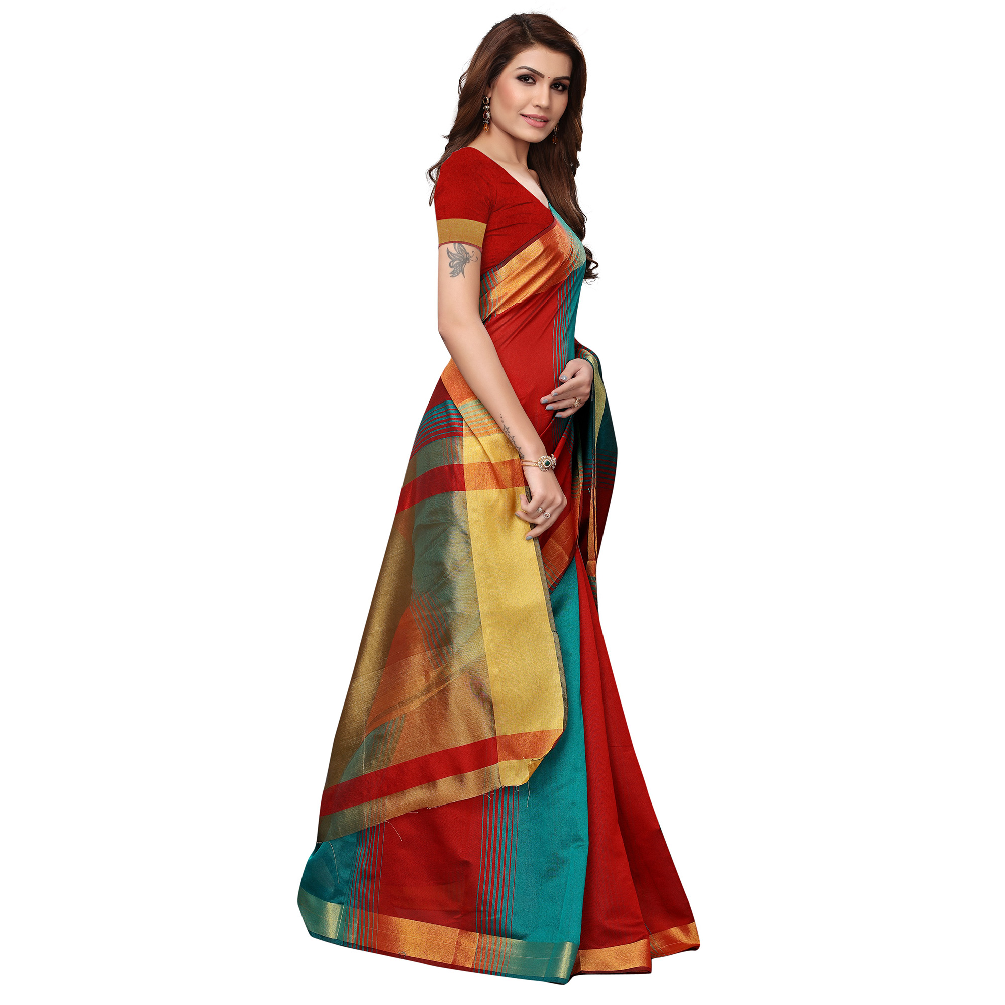 Pleasant Red - Teal Blue Colored Festive Wear Art Silk Saree