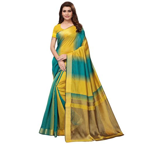 Opulent Yellow - Teal Blue Colored Festive Wear Art Silk Saree