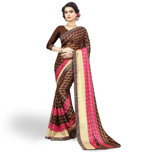 Pretty Brown Colored Casual Printed Chiffon Saree