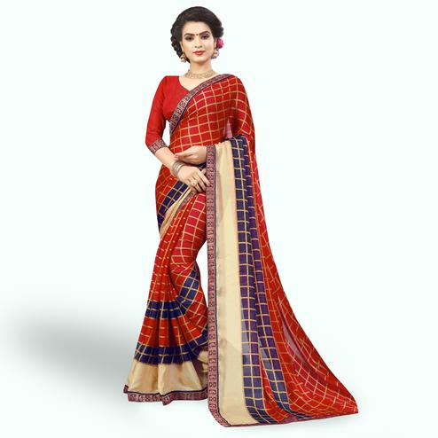 Staring Red Colored Casual Printed Chiffon Saree