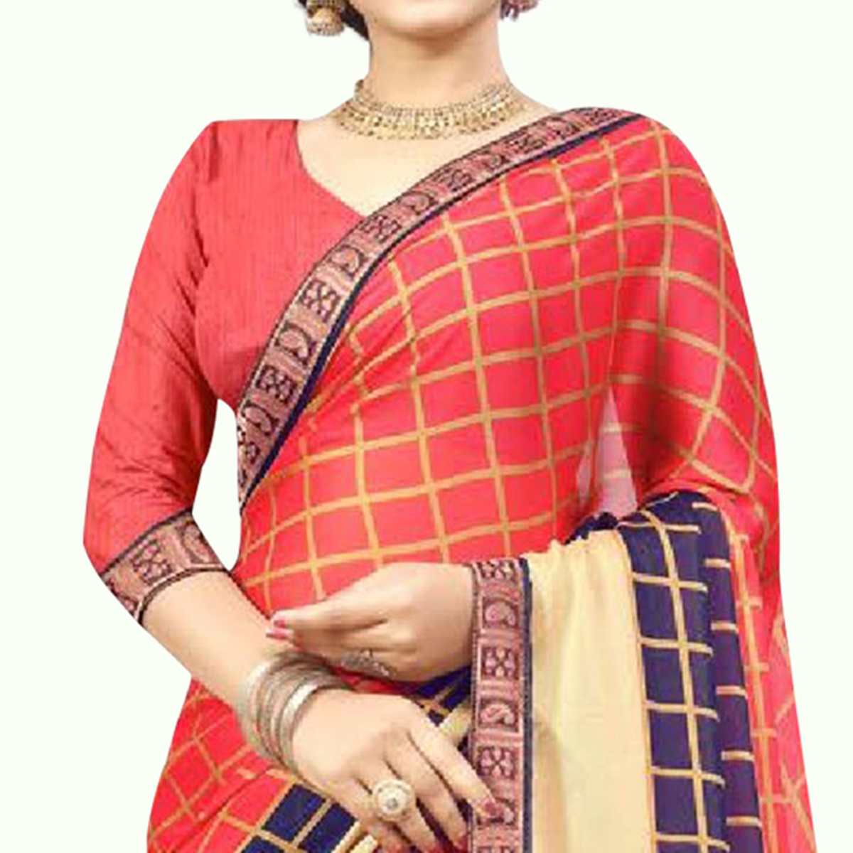Surpassing Coral Red Colored Casual Printed Chiffon Saree