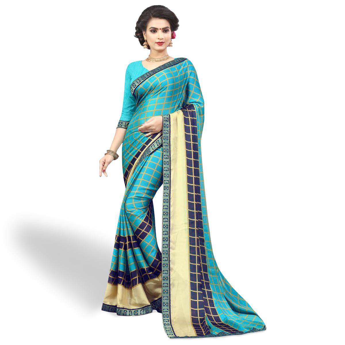 Attractive Sky Blue Colored Casual Printed Chiffon Saree
