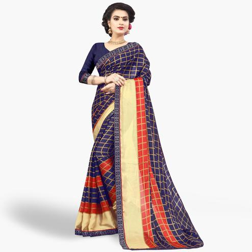 Beautiful Navy Blue Colored Casual Printed Chiffon Saree