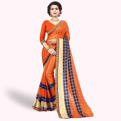 Blissful Orange Colored Casual Printed Chiffon Saree