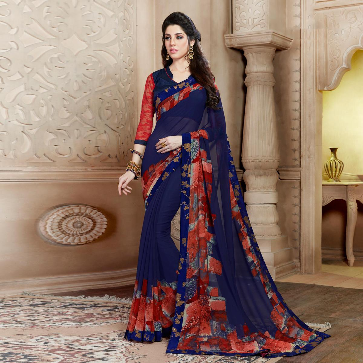 Classy Blue Casual Wear Printed Georgette Saree
