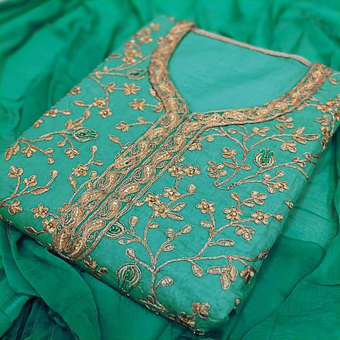 Classy Sky Blue Colored Party Wear Embroidered Modal Silk Dress Material