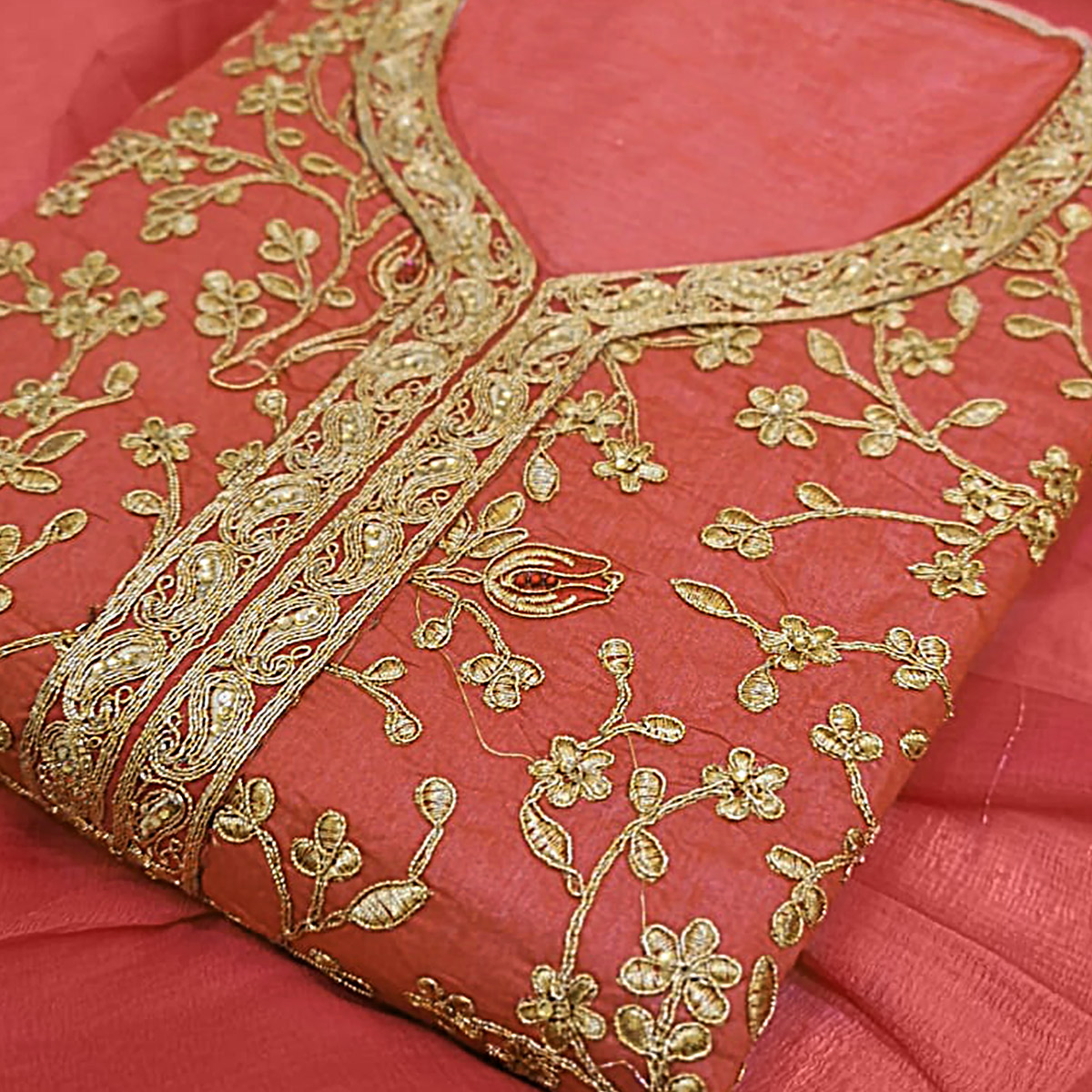 Engrossing Pink Colored Party Wear Embroidered Modal Silk Dress Material