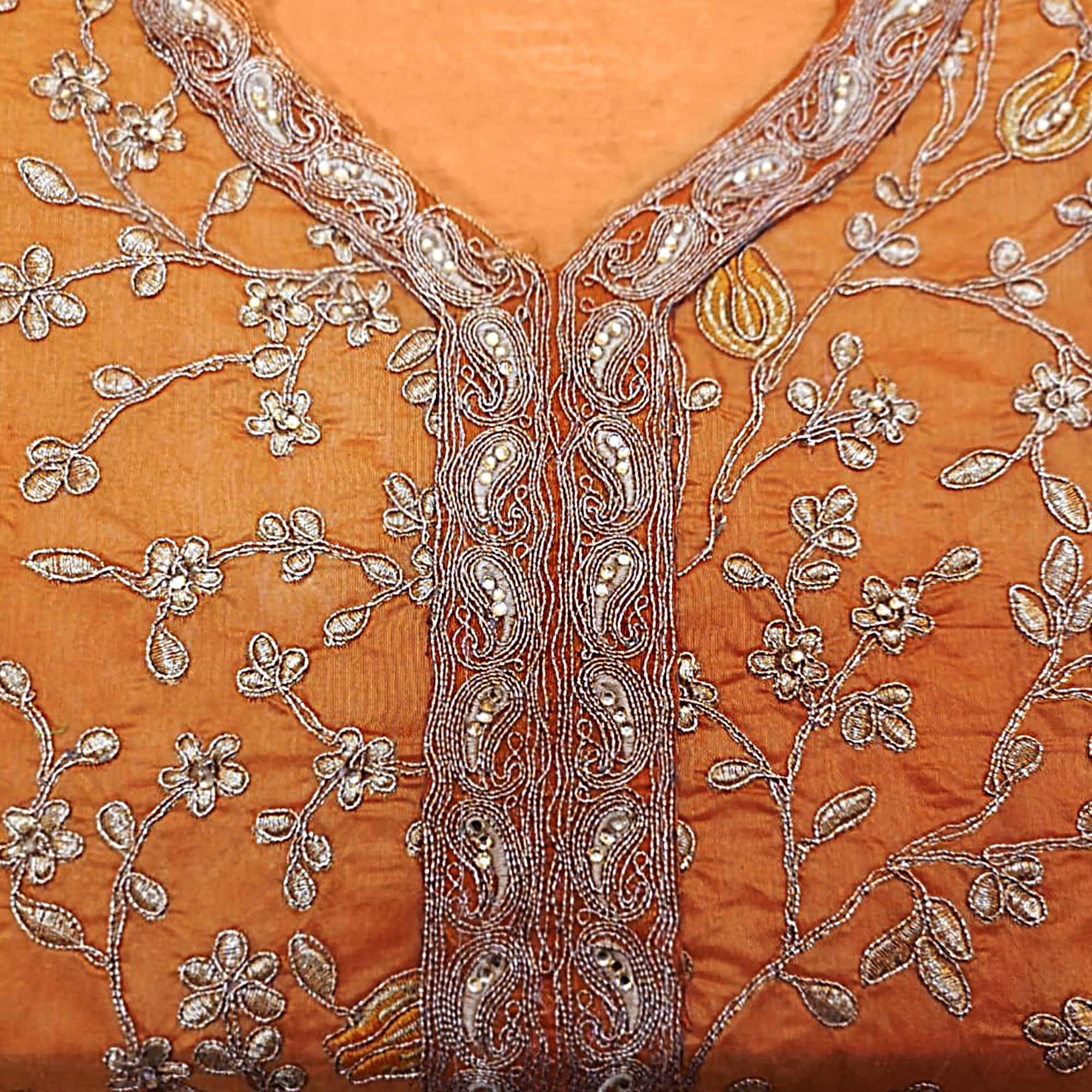 Entrancing Orange Colored Party Wear Embroidered Modal Silk Dress Material