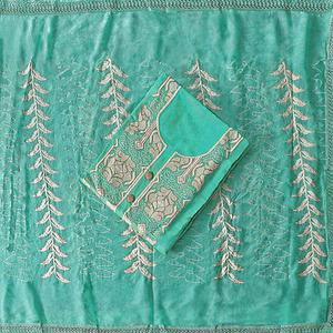 Eye-catching Turquoise Green Colored Party Wear Embroidered Modal Silk Dress Material