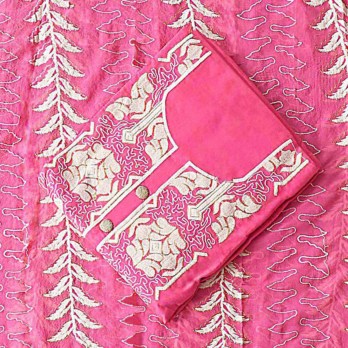 Glorious Pink Colored Party Wear Embroidered Modal Silk Dress Material