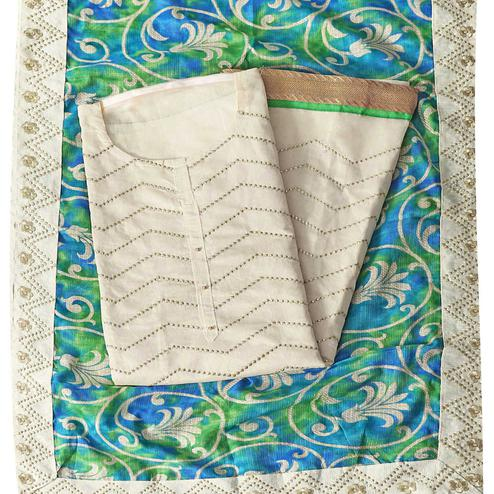 Pleasance Cream-Green Colored Party Wear Embroidered Modal Silk Dress Material