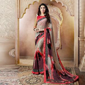 Beige Casual Wear Printed Georgette Saree
