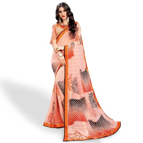 Classy Peach Colored Casual Wear Printed Georgette Saree