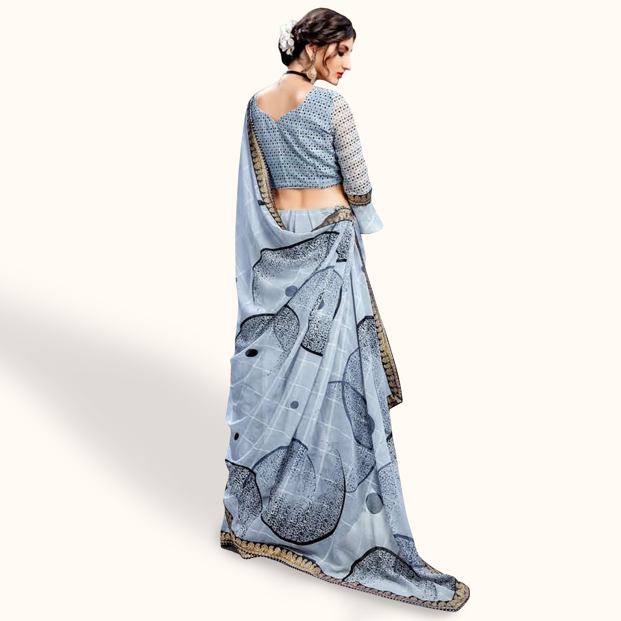 Delightful Grey Colored Casual Wear Printed Georgette Saree