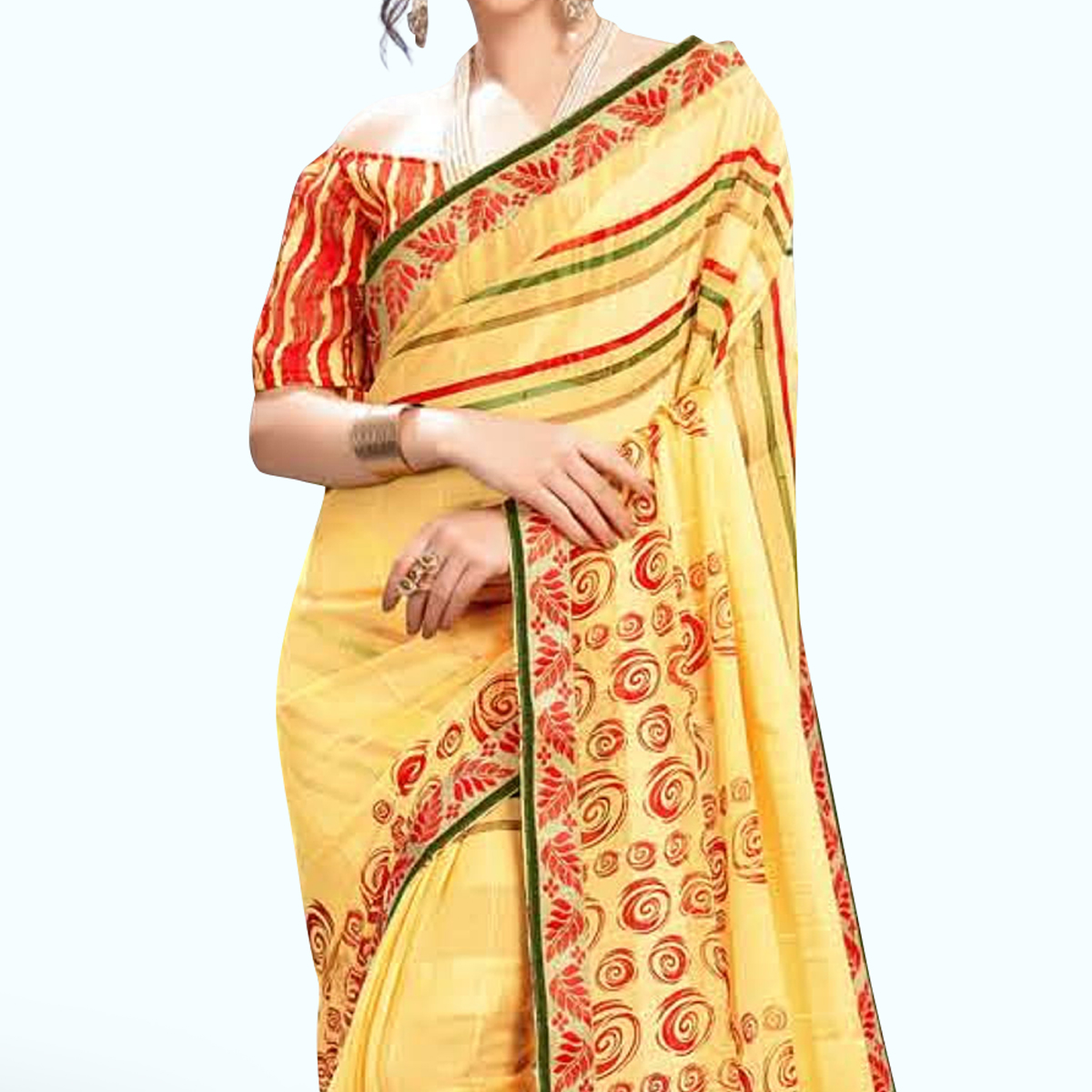 Engrossing Yellow Colored Casual Wear Printed Georgette Saree