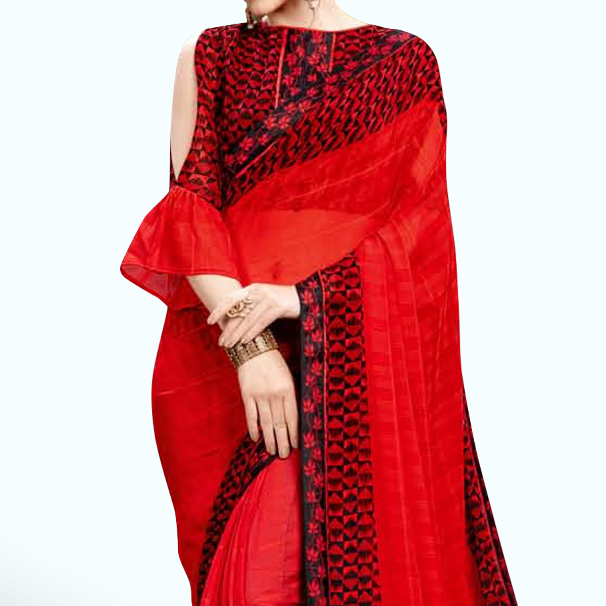 Entrancing Red Colored Casual Wear Printed Georgette Saree