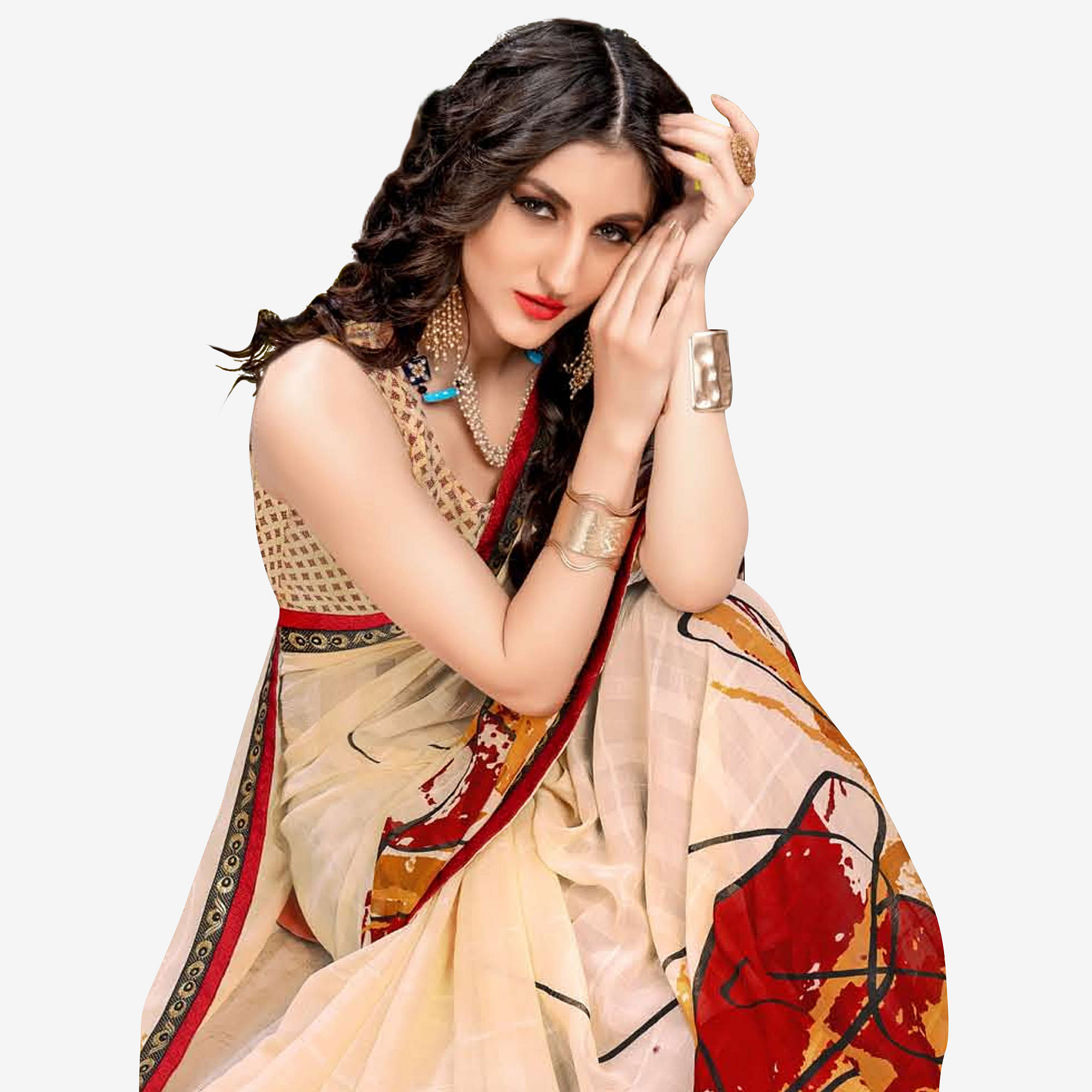 Exotic Cream Colored Casual Wear Printed Georgette Saree